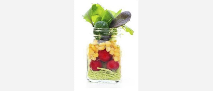 Easy green salads recipes with pictures - Radish,Cabbage, Corn & Red Spinach Salad in a Jar