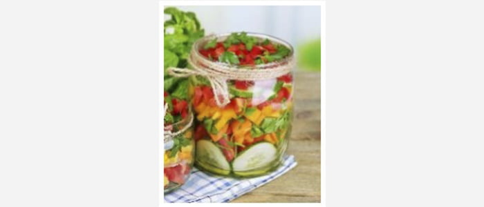 Easy green salads recipes with pictures - Tomato, Cucumber, Carrot & Parsley Salad in a Jar