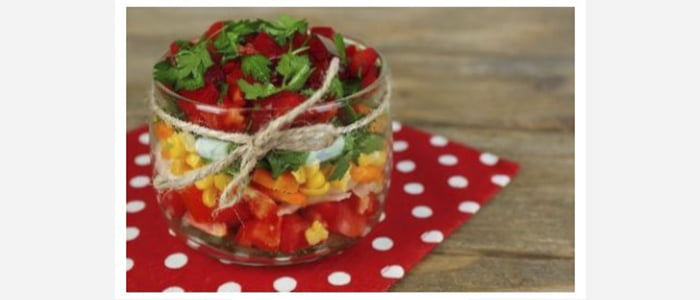 Easy green salads recipes with pictures - Tomato,Carrot,Corn & Parsley Salad in a Jar