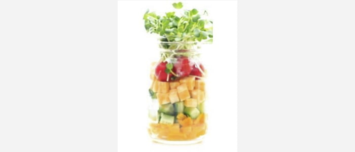 Easy green salads recipes with pictures - Watercress,Cucumber & Sweet Potato Salad in a Jar