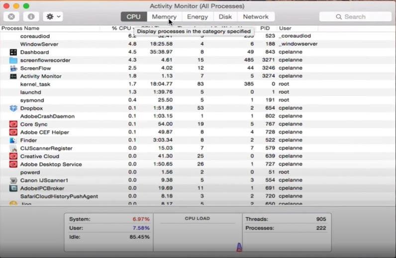 Check Mac Activity Monitor