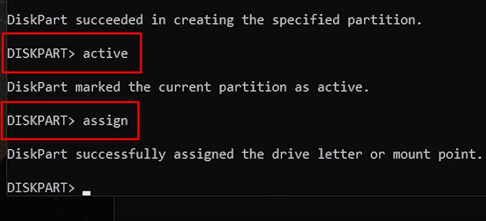 Type active the partition and assign the partition