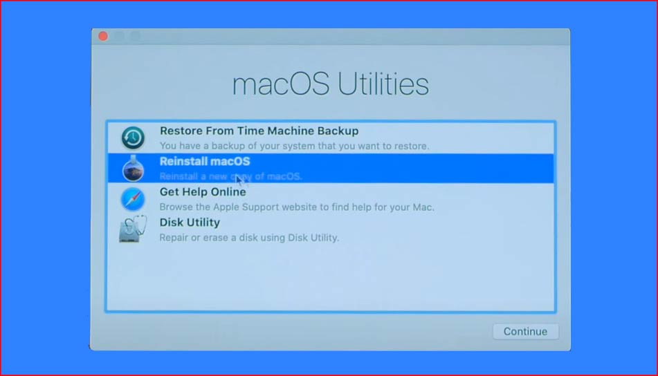 Select the Reinstall macOS. Mac can't find the startup disk.