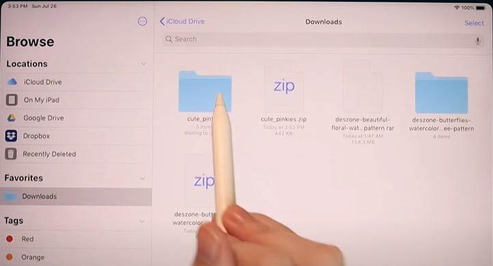 open Download folder