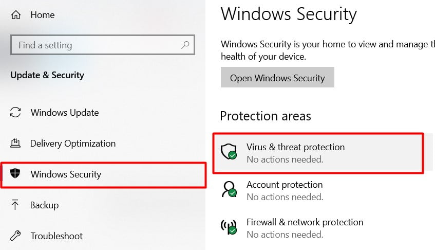 click on virus and threat protection