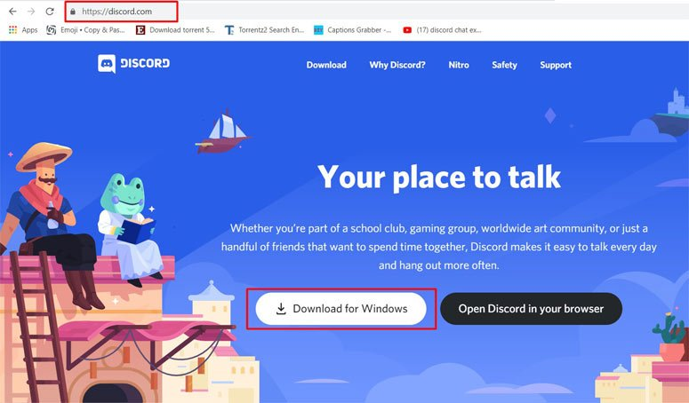 open discord official site and download for windows