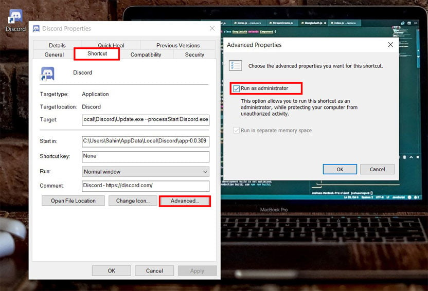 select discord as Run as administrator