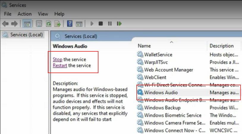 restart Window Audio Service