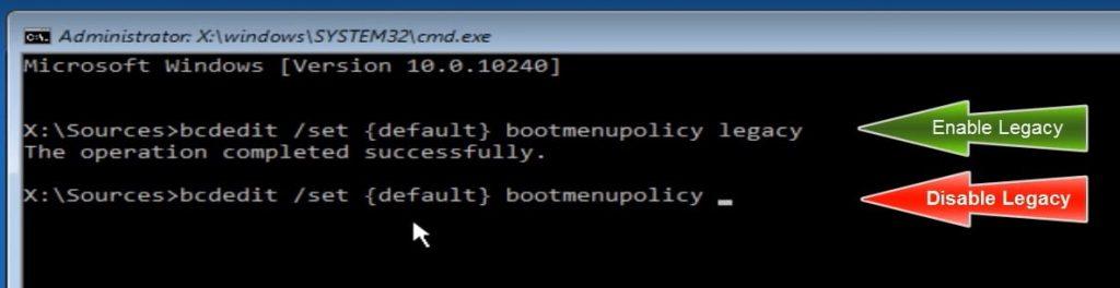 Enable Legacy Advanced boot menu