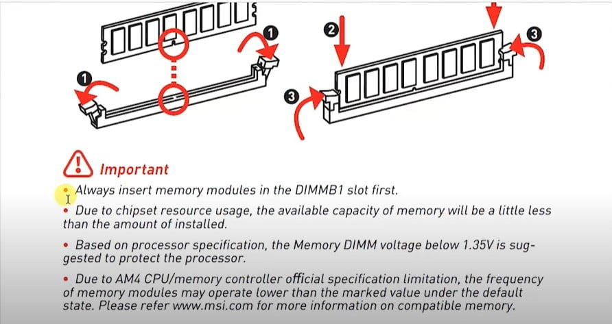 How to inset RAM correctly
