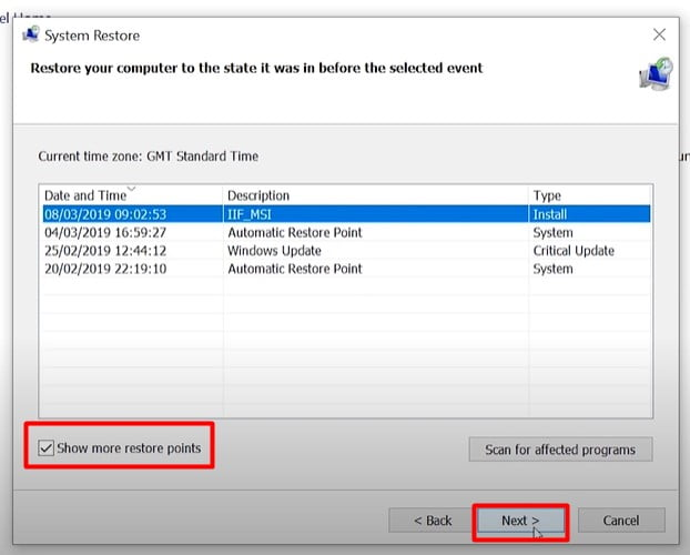 Selct the Restore point (Fix Kernel security check failure)