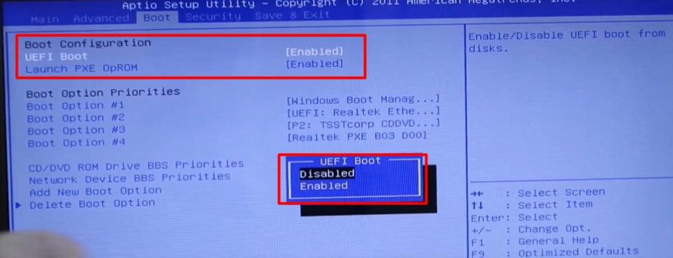 change the UEFI setting
