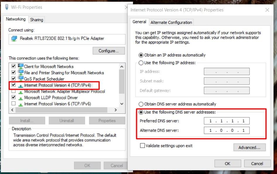 change you DNS server address