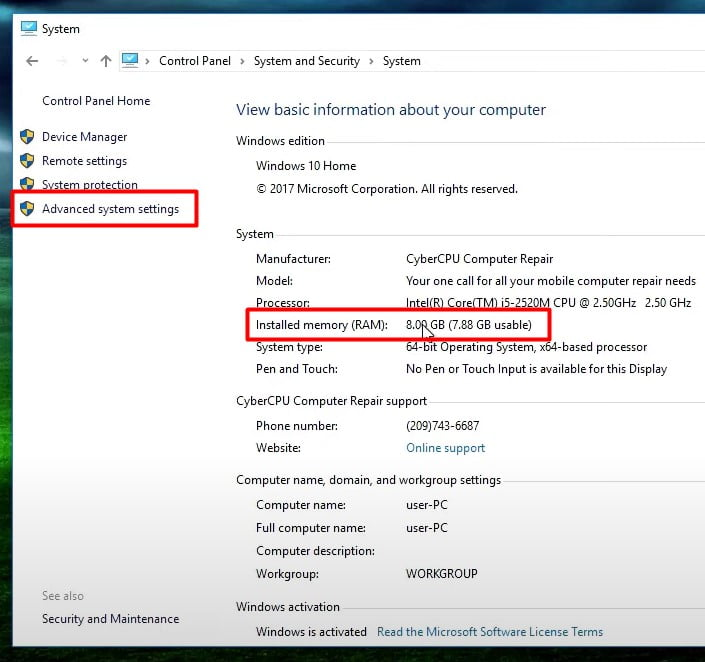 check your system RAM and CLick on Advanced system settings