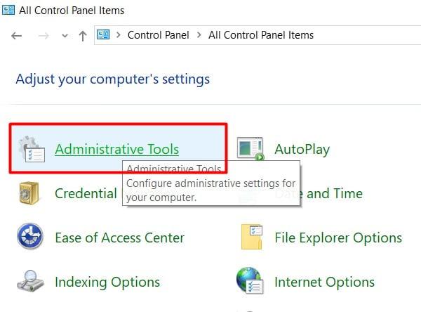 click on administrative tools