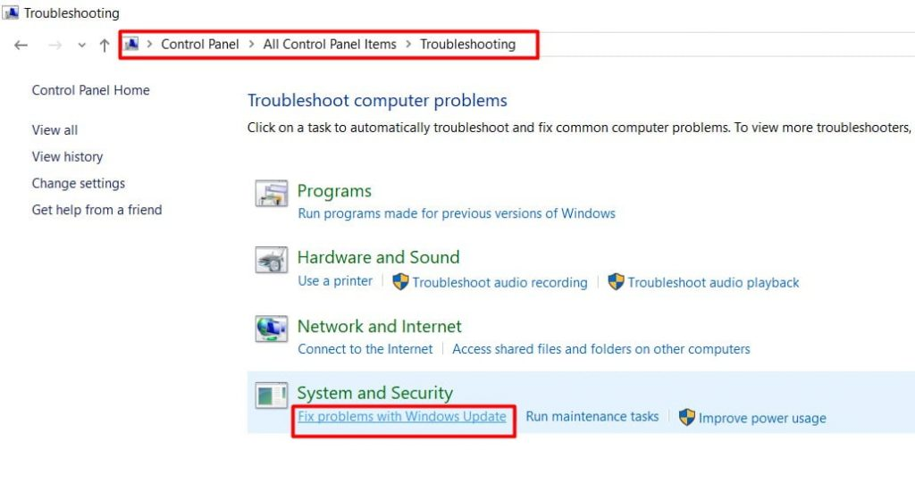 click on the FIx problem with Windows Update