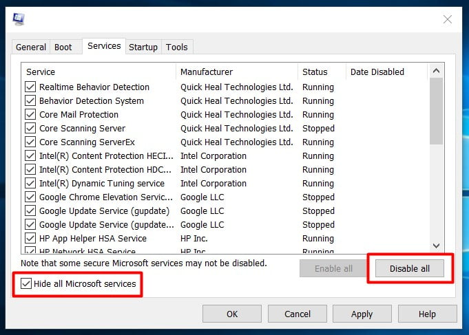 go to services tab and disable all microsoft services