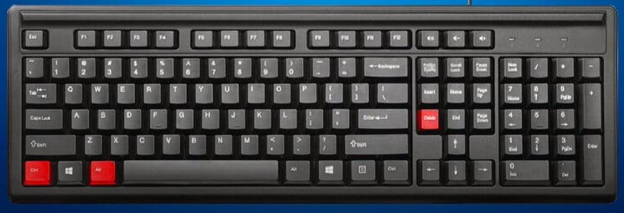 press ctrl alt delete keys at a time
