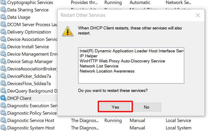 restart the DHCP service
