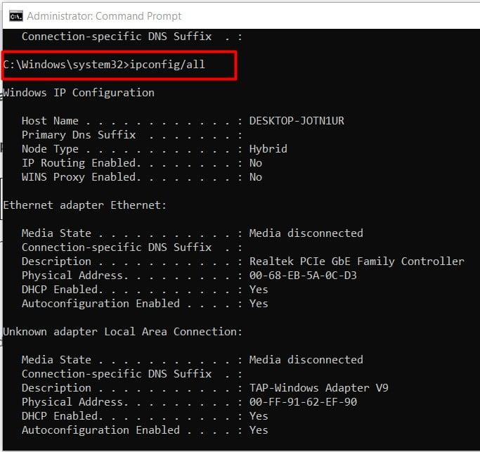 run second command ipconfig app