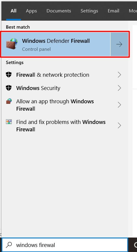 search and open windows firewall