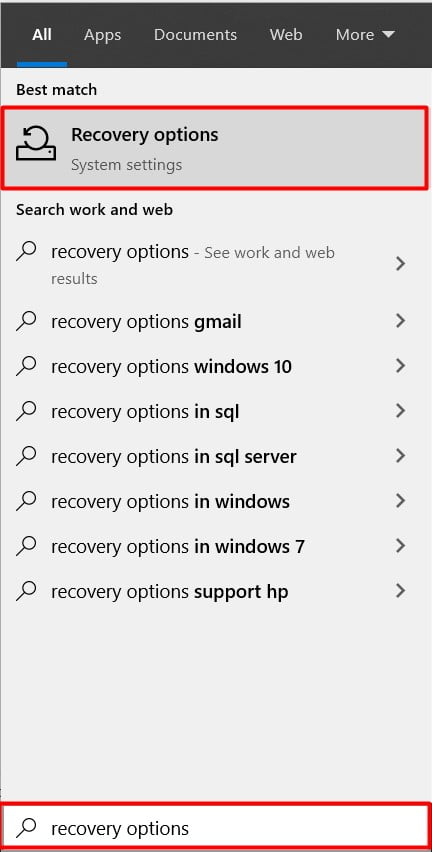 search for recovery option