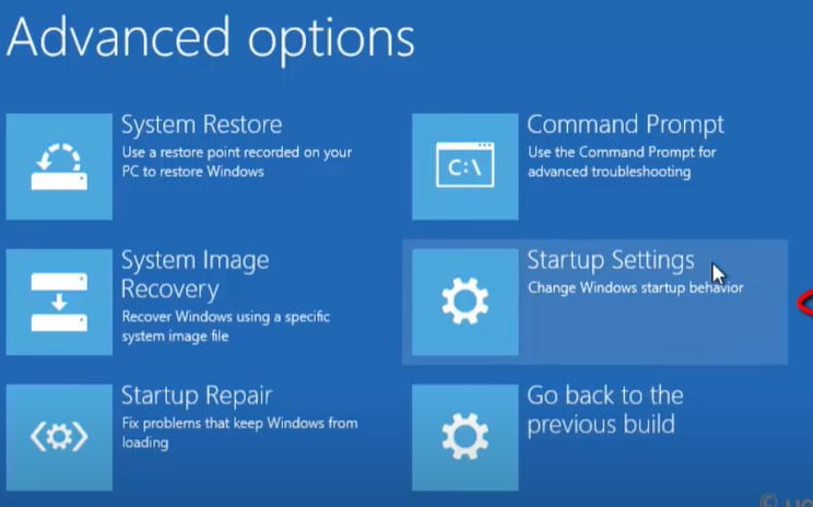 select the Startup Settings