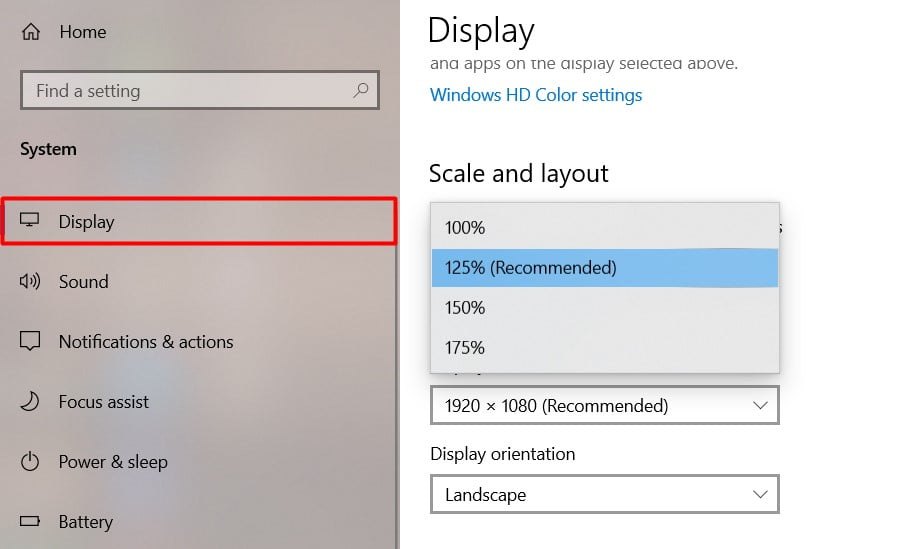 set the display scale default resoulation