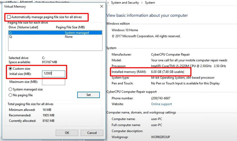 set virtual memory to resove Modern Setup Host error