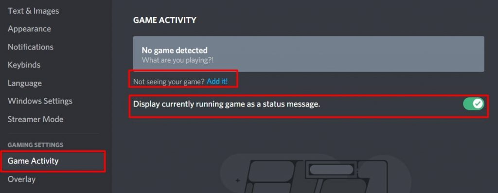 turn on the game activity