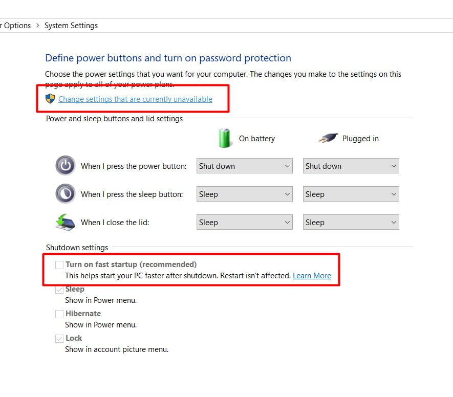uncheck fast startup option