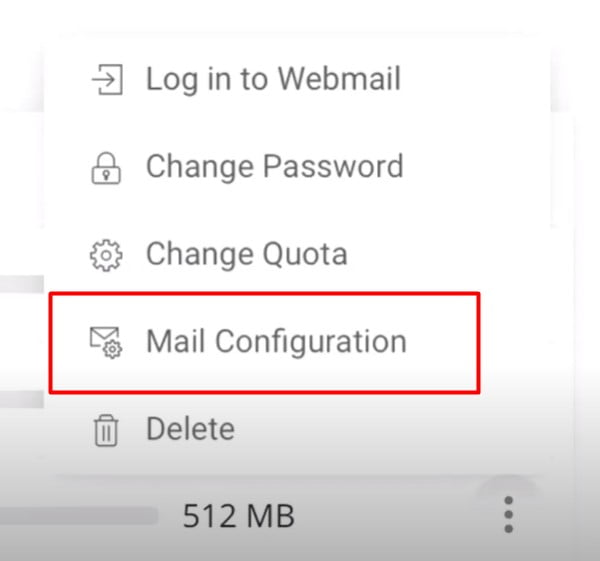 CLick on Mail Configuration