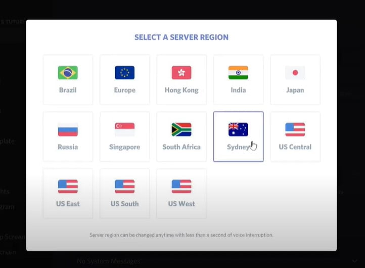 Click on Server Region and select any other region