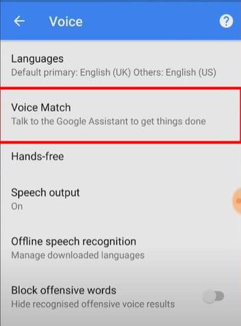 Click on voice match