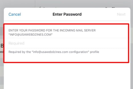 Next Enter your Mail Password.