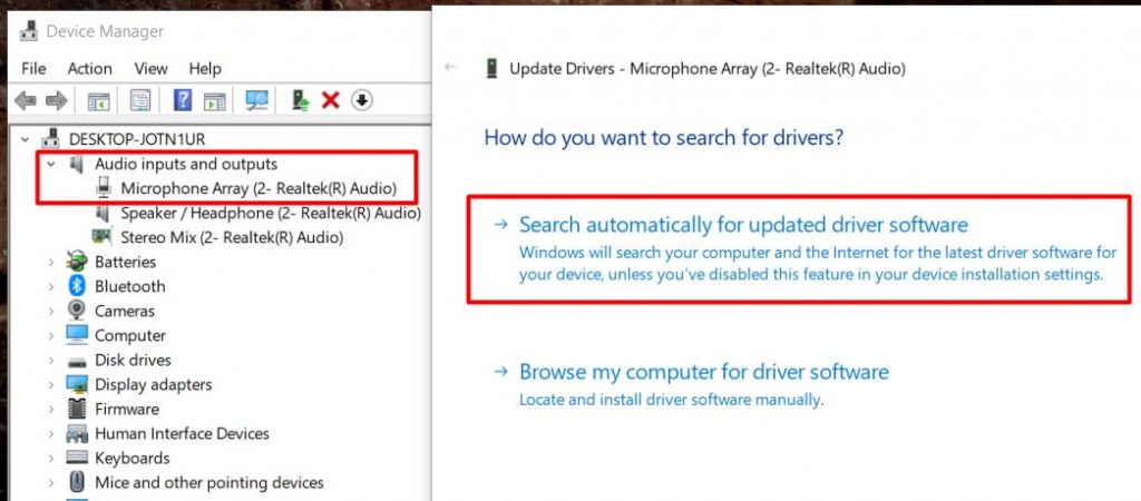 search automatically for update driver