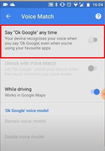 """turn on the While driving on turn off Say """"Ok Google"""" any time"""