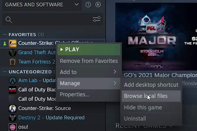 Browse Steam Installed location