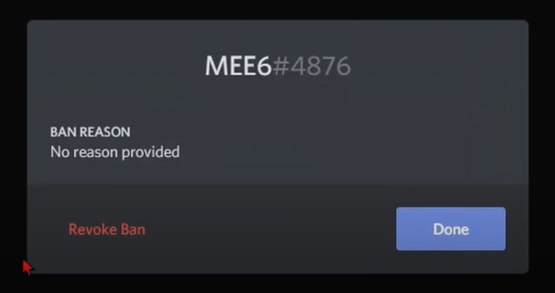 Click on the Revoke ban option to Unban Someone On Discord