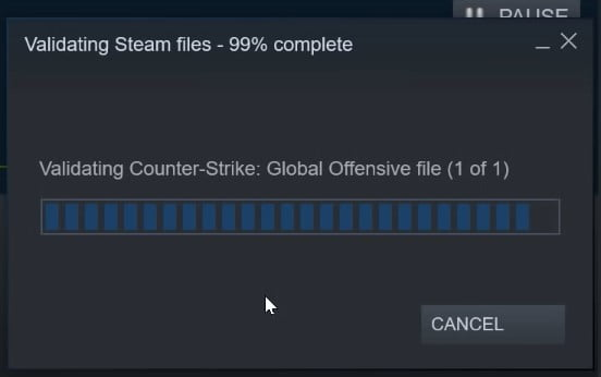 CS:GO Recovering missing files