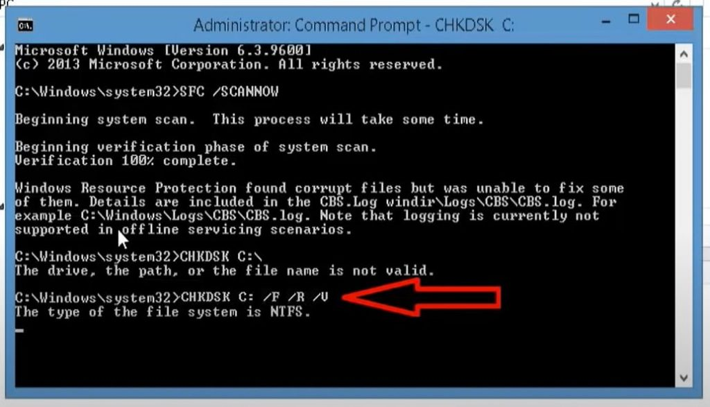 Run the chkdsk commend