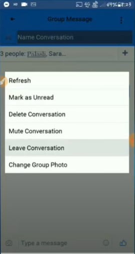 Tap on the Leave Conversation option
