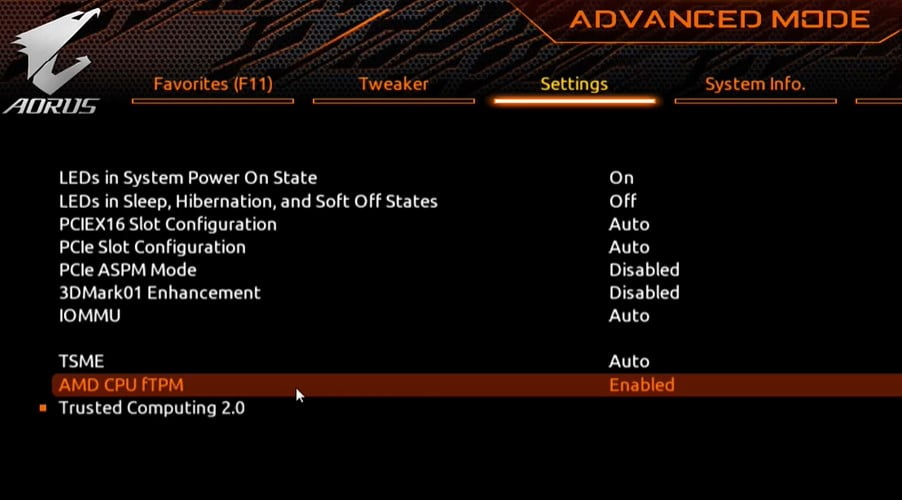 AMD mother board enable TPM