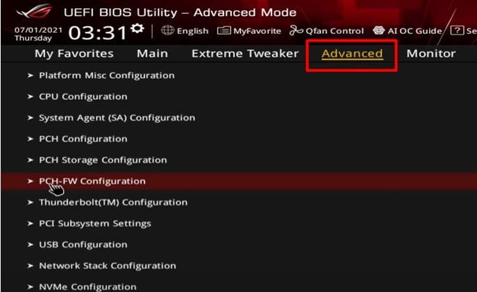 Asus UEFI BIOS -PCH-FW