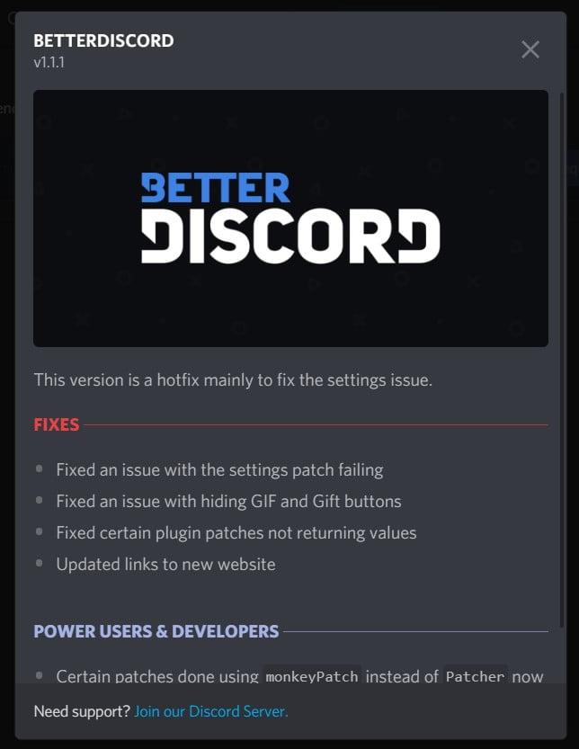 BetterDiscord pop-up