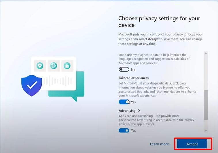 CHoose privacy settings for your device