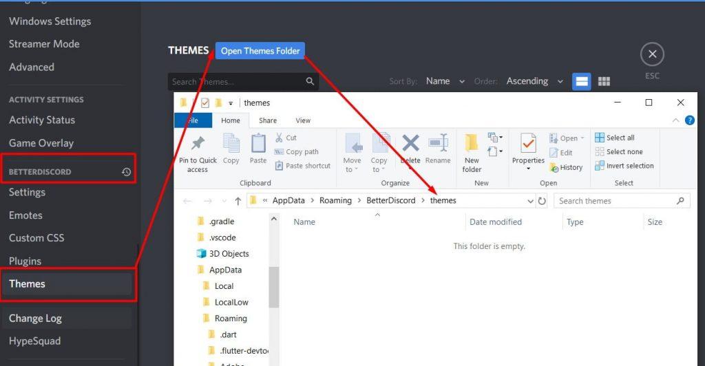 CLick on Open themes Folder