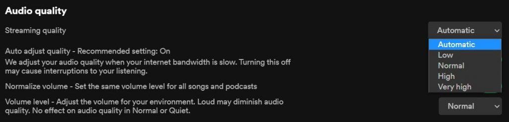 Change Audio Quality Setting