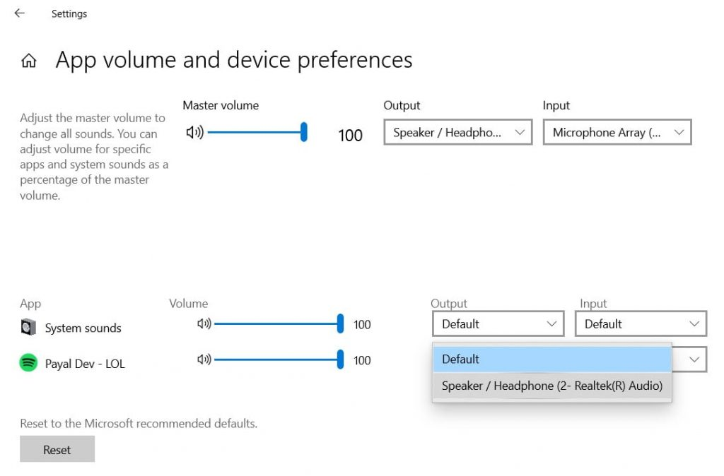 Check app volumn and device preferences