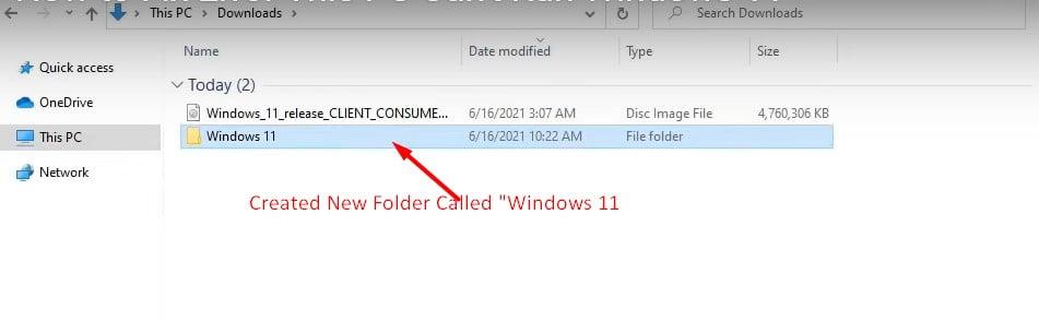Created new folder called windiws 11